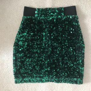 H&M Green Sequin Pencil Skirt